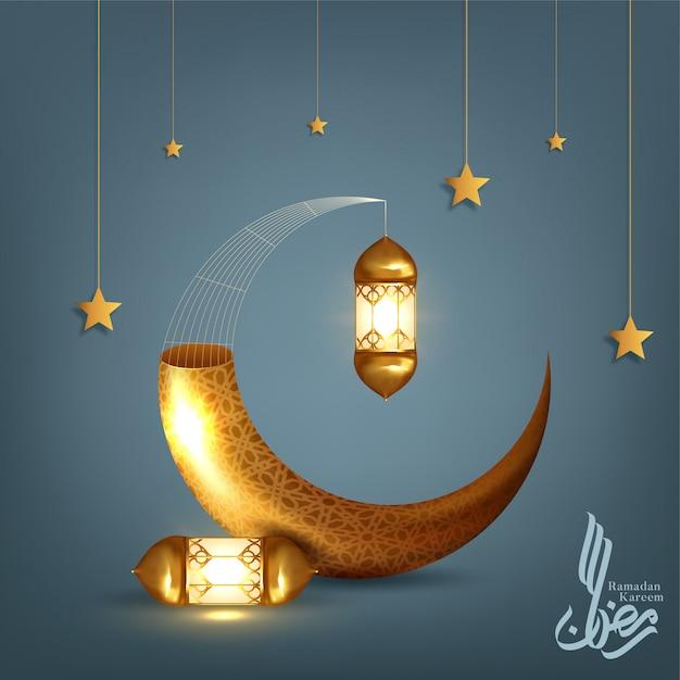Ramadan kareem-groet achtergrond islamitisch symbool halve maan. illustratie Premium Vector