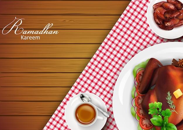 Ramadan kareem-groetenbanner Premium Vector