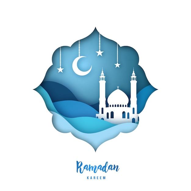 Ramadan kareem-illustratie met arabische origami-moskee. Premium Vector