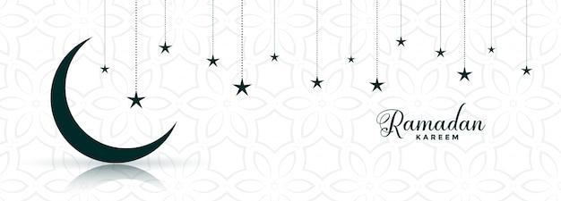 Ramadan kareem maan en ster festival bannerontwerp Gratis Vector
