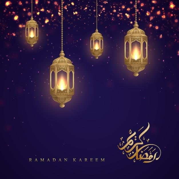 Ramadan-kareem met arabische kalligrafie en gouden lantaarns. Premium Vector