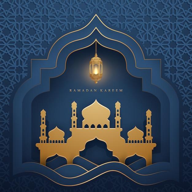 Ramadan kareem met gloeiende hangende lantaarn en moskee. Premium Vector