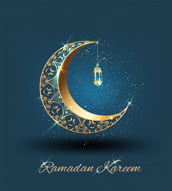 Ramadan kareem met gouden sierlijke halve maan en islamitische lijn moskee Premium Vector