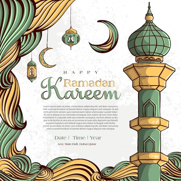 Ramadan kareem met hand getrokken islamitische illustratie sieraad op witte grunge achtergrond Gratis Vector