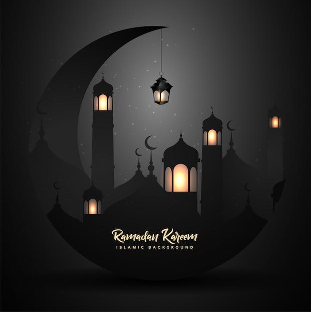 Ramadan kareem met lantaarn Premium Vector