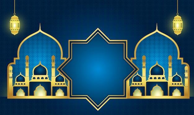 Ramadan kareem of eid mubarak achtergrond Premium Vector