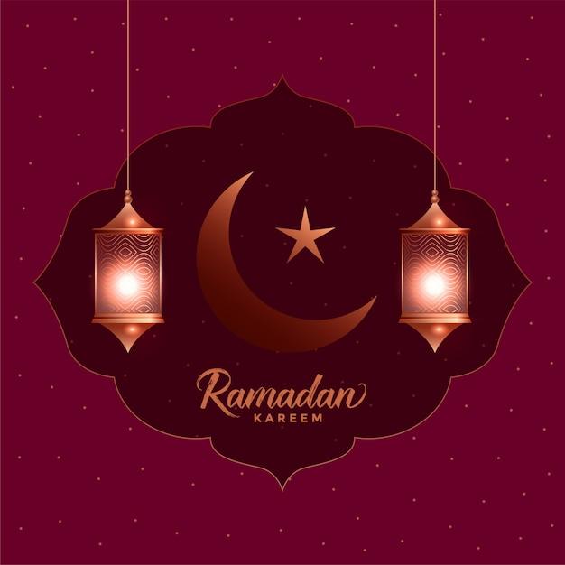Ramadan kareem prachtige wenskaart met hangende lantaarns Gratis Vector