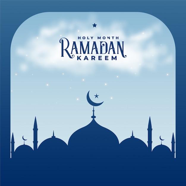 Ramadan kareem seizoen islamitische moskee achtergrond Gratis Vector