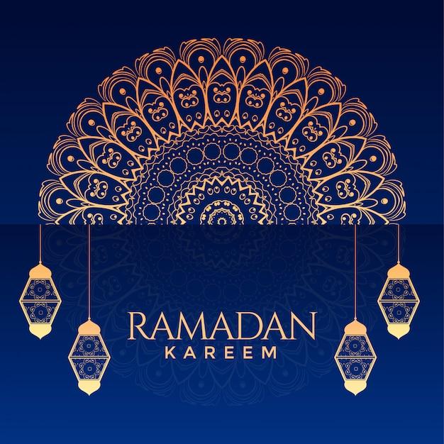 Ramadan kareem sier decoratieve achtergrond Gratis Vector