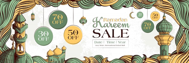 Ramadan kareem-verkoopbanner met hand getrokken islamitisch illustratieornament op witte grunge-achtergrond. Gratis Vector