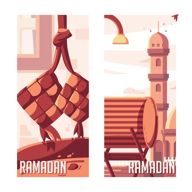 Ramadan kareem vlakke afbeelding Premium Vector