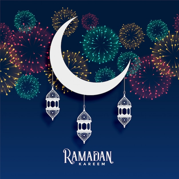 Ramadan kareem vuurwerk achtergrond decoratie Gratis Vector