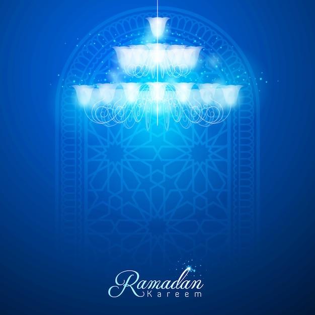 Ramadan kareem wenskaart achtergrond Premium Vector