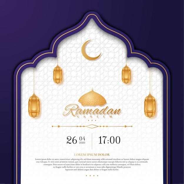 Ramadan kareem wenskaart met lantaarn Premium Vector