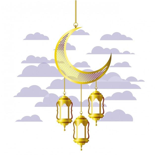 Ramadan-kareemlantaarn en maan hangen Premium Vector