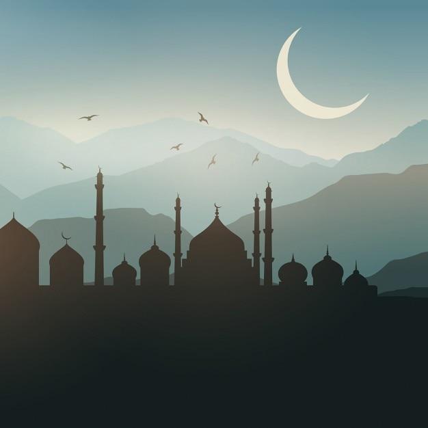 Ramadan landschap achtergrond bij zonsondergang Gratis Vector