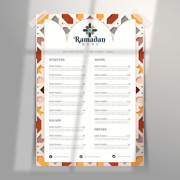 Ramadan menusjabloon in papierstijl Gratis Vector