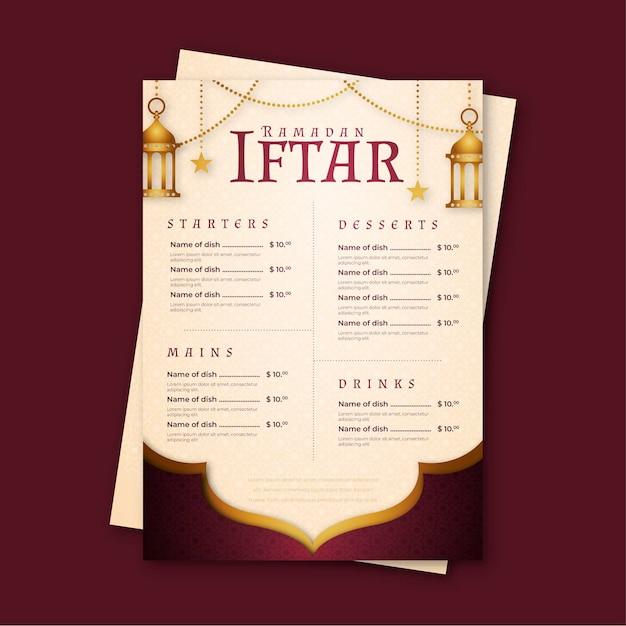 Ramadan menusjabloon met lantaarns Premium Vector