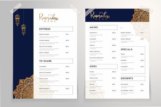 Ramadan menusjabloon met mandala Gratis Vector