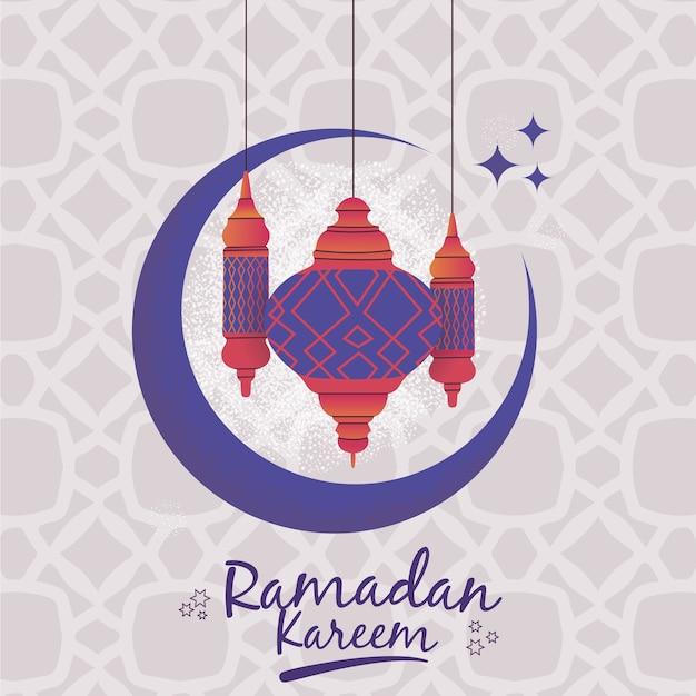 Ramadan met lantaarns en maan Premium Vector