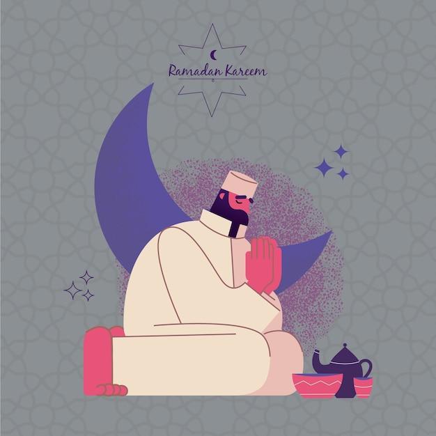 Ramadan met man bidden Premium Vector