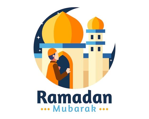 Ramadan mubarak-achtergrond met moslimman bidt voor moskee Premium Vector