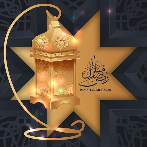 Ramadan mubarak groet achtergrond met gouden lantaarn Premium Vector