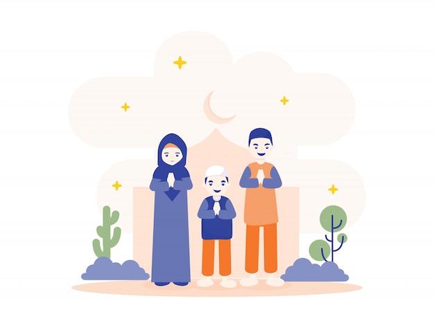 Ramadan mubarak met kleine familie illustratie Premium Vector