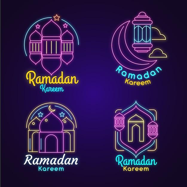 Ramadan neon sign collectie Gratis Vector
