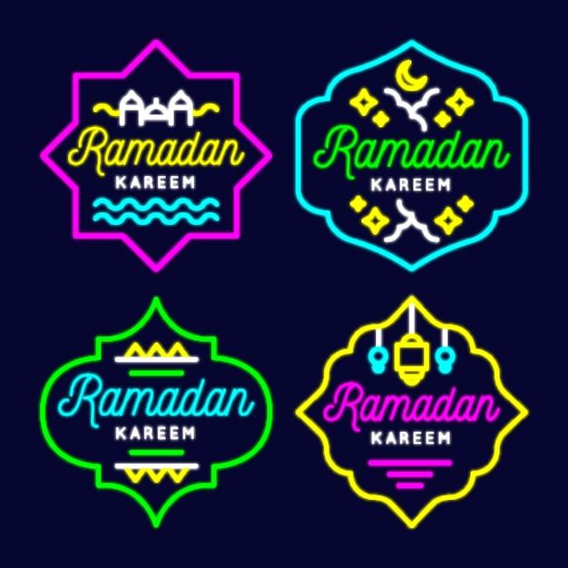 Ramadan neon sign pack Gratis Vector