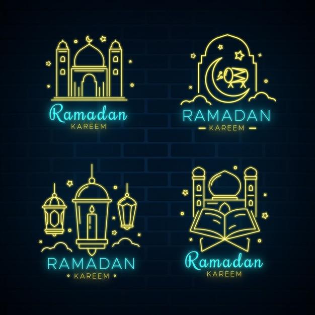 Ramadan neon teken set Gratis Vector