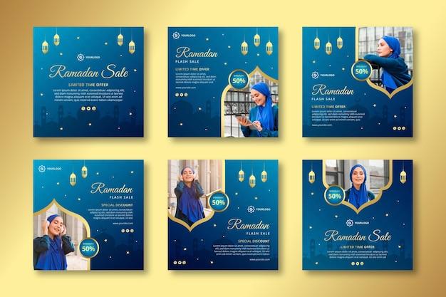 Ramadan verkoop instagram posts collectie Gratis Vector