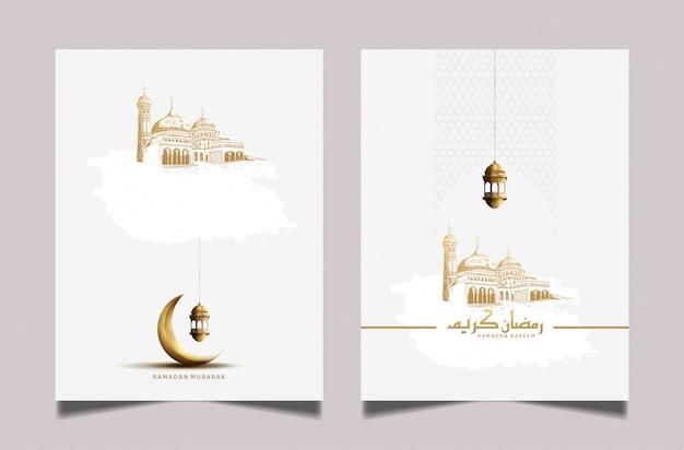 Ramadan wenskaart met gouden maansikkel en lantaarn Premium Vector