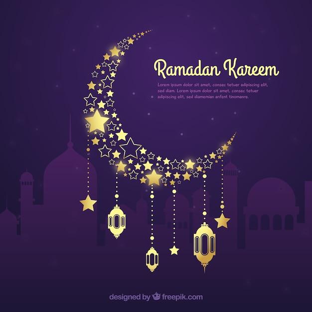 Ramadanachtergrond met gouden maan in hand getrokken stijl Gratis Vector