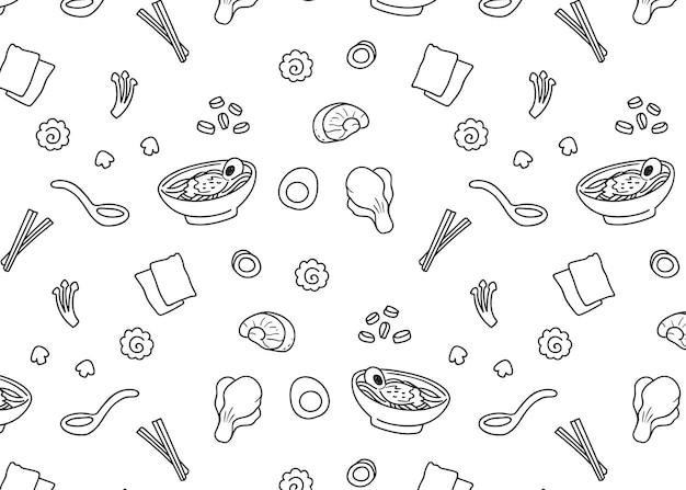 Ramen doodle Premium Vector