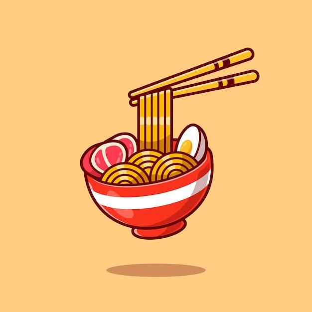 Ramen noodle ei en vlees met eetstokje cartoon Gratis Vector