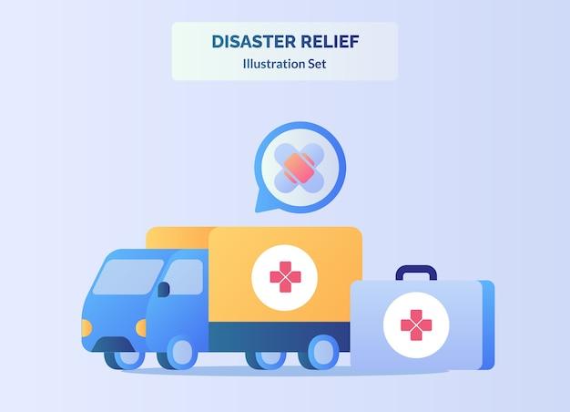 Rampenbestrijding concept vrachtwagen van dragen medische apparatuur Premium Vector