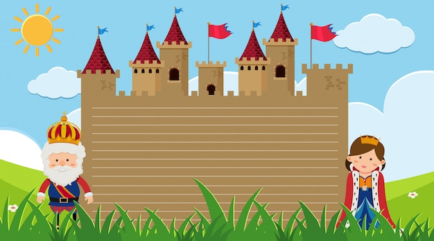 Randsjabloon met koning en koningin in het kasteel Premium Vector