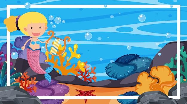 Randsjabloon met onderwaterscène op achtergrond Premium Vector