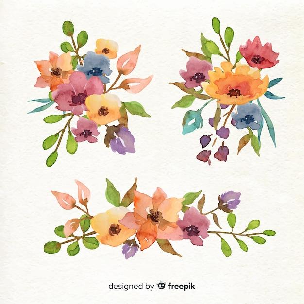 Rangschikking van bloemenboeketcollectie Gratis Vector