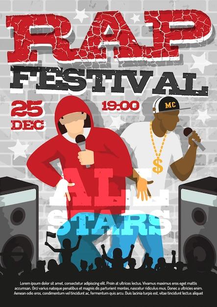 Rap music festival aankondiging poster Gratis Vector