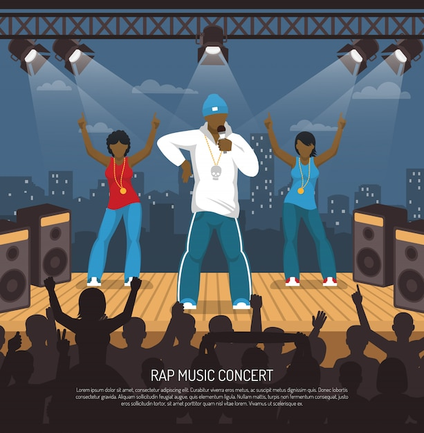 Rap muziek concert platte sjabloon Gratis Vector