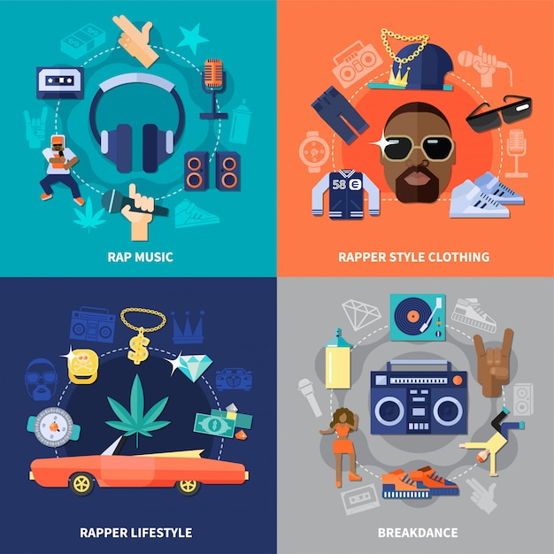Rap muziek plat concept Gratis Vector