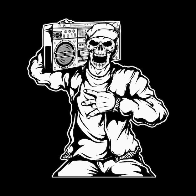 Rapper schedel met een boombox Premium Vector