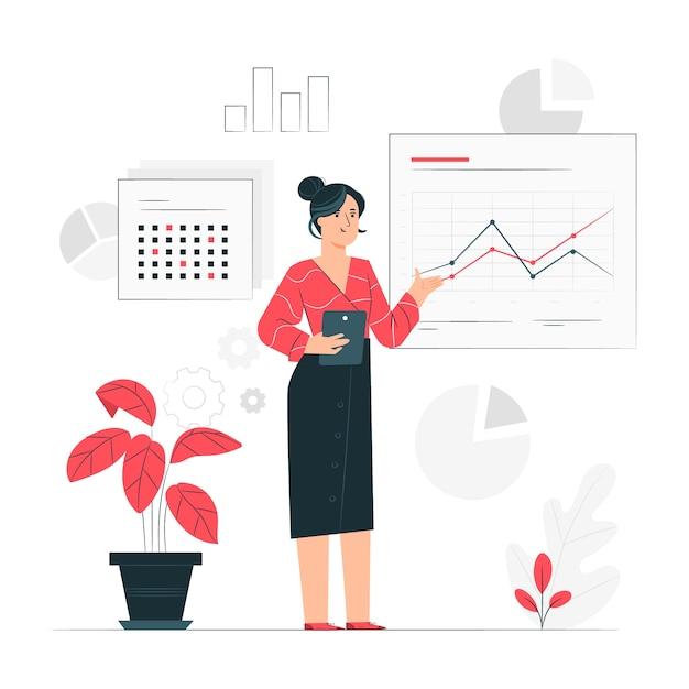 Rapport concept illustratie Gratis Vector