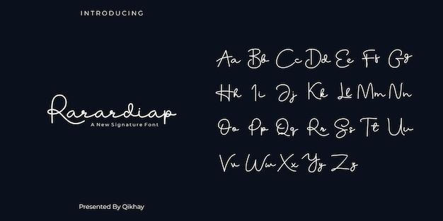 Rarardiap handtekening lettertype Premium Vector