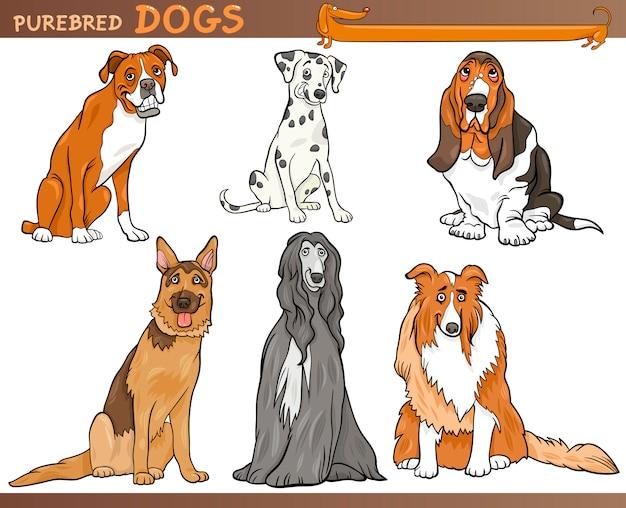 Rasechte honden cartoon afbeelding set Premium Vector