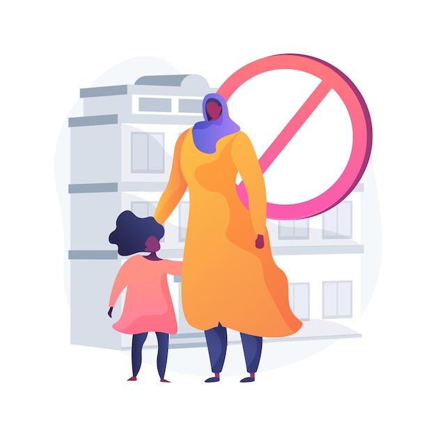 Rassendiscriminatie abstract concept vectorillustratie. vluchtelingen, schending van burgerrechten, immigratie, huidskleur, kinderbescherming, religie-discriminatie, xenofobie abstracte metafoor. Gratis Vector