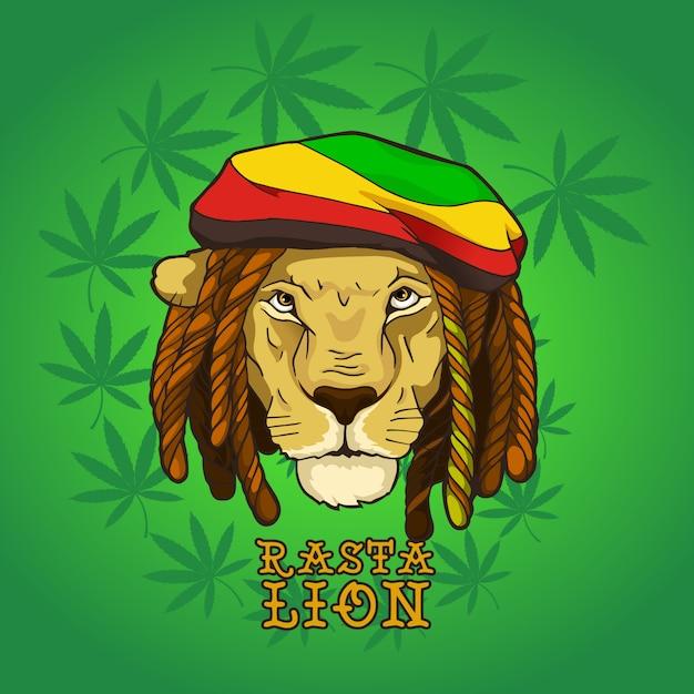 Rasta bob marley lion Premium Vector