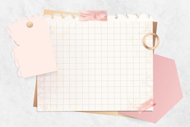 Raster papier notitie sjabloon Gratis Vector